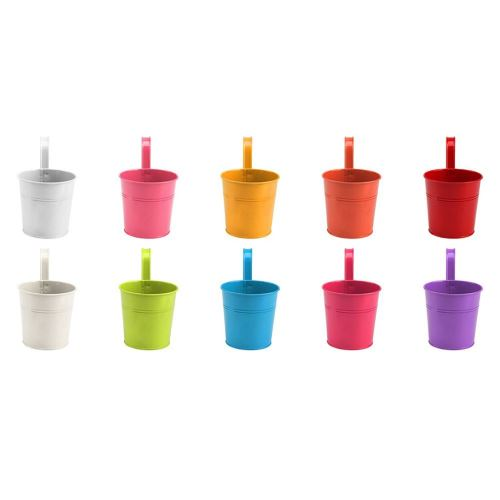 Pots de Fleurs Extérieur Fer Métal Suspendu Balcon Planteur 10 Pcs Différent Vase Coloré YYYP093