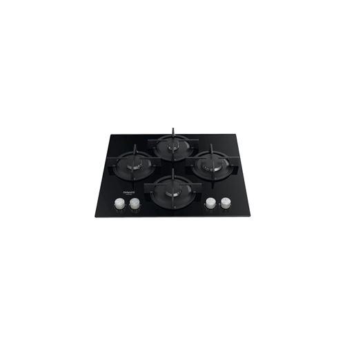 Hotpoint Ariston HAGS 61S/BK - Table de cuisson au gaz - 4 plaques de cuisson - Niche - largeur : 55.5 cm - profondeur : 47.5 cm - noir