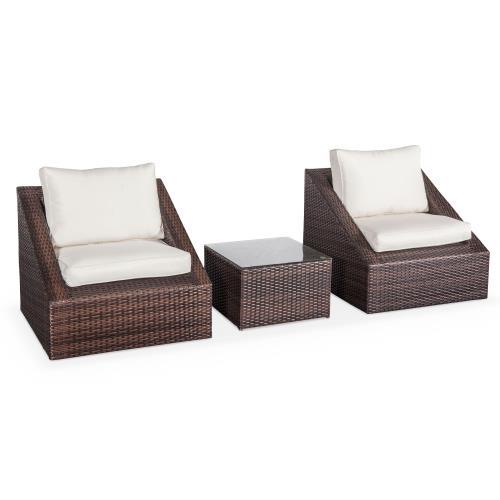 Salon de jardin 2 places - Triangolo - résine tressée chocolat coussins écrus fauteuils + 1 table basse empilables