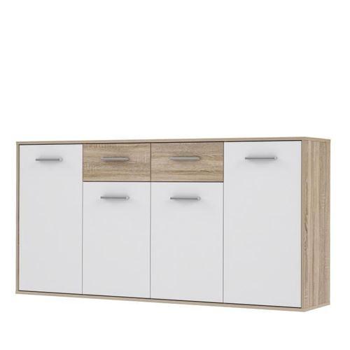 PILVI Buffet bas 4 portes 4 tiroirs - Blanc et chene sonoma - L 162,3 x P 34,2 x H 88,1 cm