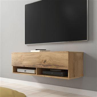 Meuble Tv Meuble De Salon Wander 100 Cm Sans Led Chene Wotan 2 Niches Ouvertes Forme Minimaliste