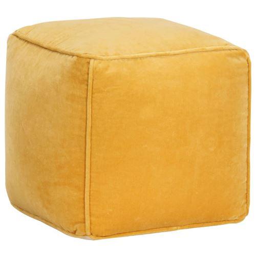Pouf Velours de coton 40 x 40 x 40 cm Jaune