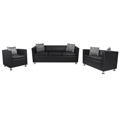 vidaXL Jeu de canapé à 2 places et à 3 places et fauteuil Noir