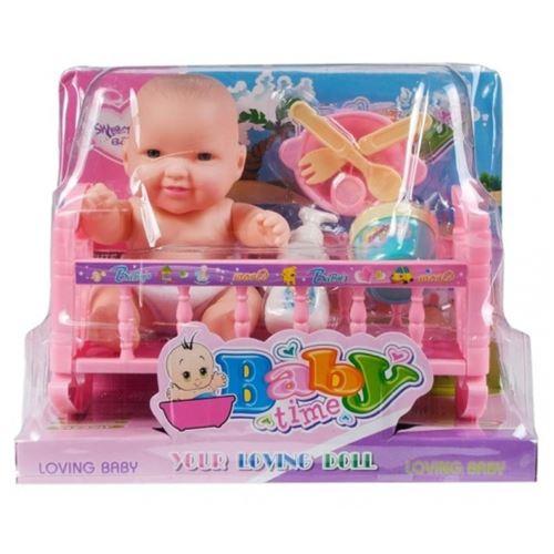 poupée 18cm berceau bébé + accessoires 21x32x6 win