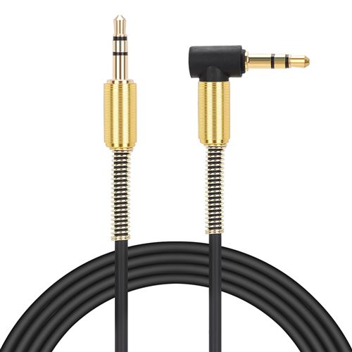 Câble audio 1m 3.5mm Jack mâle droit à 3.5mm coudé fiche mâle Câble audio Aux Cord