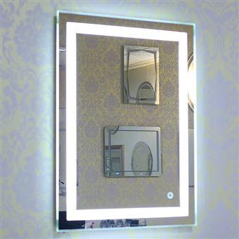 Miroir LED Lampe de Miroir Éclairage Salle de Bain Miroir Lumineux Verre  Trempé 22W-Blanc froid 6500K- 600*800mm