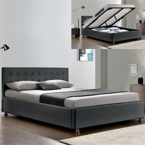 Lit complet sommier relevable + tête de lit + cadre de lit Capitole - Gris - 180x200
