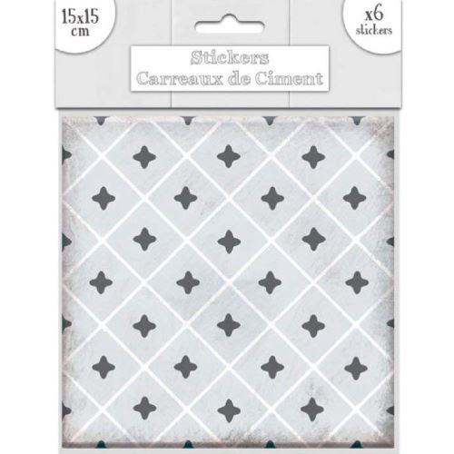 6 stickers à carreaux de ciment 15 x 15 cm