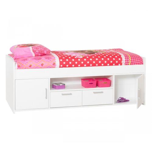 Lit 90x200 blanc avec tiroirs LT3003 - Terre de Nuit