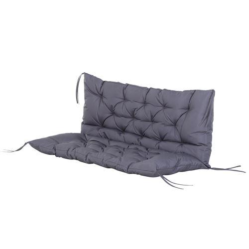 Coussin matelas assise dossier pour banc de jardin balancelle canapé 2 places grand confort 120 x 110 x 12 cm gris