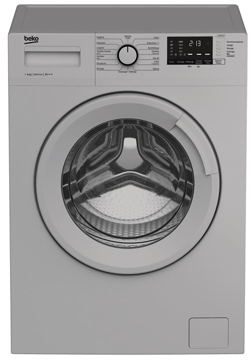 Beko WTE6612SY - Machine à laver - indépendant - largeur : 60 cm - profondeur : 44 cm - hauteur : 84 cm - chargement frontal - 39 litres - 6 kg - 1200 tours/min - argent