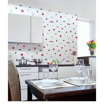 Papier Peint Vinyle Très Résistant EDEM 584 20 Aspect Carrelage Decoratif  Mosaique Cuisine Bain Blanc Gris Noir   Achat U0026 Prix | Fnac