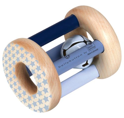 Selecta Spielzeug hochet garçons 7 cm bois naturel/bleu