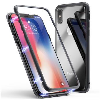 Coque pour Apple iPhone X Coque Magnetique Noir Verre Trempe Houe Etui 360 Integral Full Protection Metal Film Vitre Ecran Ultra Resistant Phonillico
