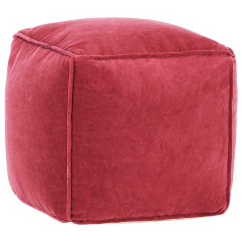 Pouf Velours de coton 40 x 40 x 40 cm Rouge