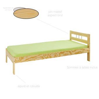 lit simple enfant adulte 1 place bois massif meuble. Black Bedroom Furniture Sets. Home Design Ideas