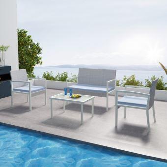 IMS Garden - Salon de jardin résine tressée Gris - ensemble 4 places -  Canapé + Fauteuil + Table -MILOS
