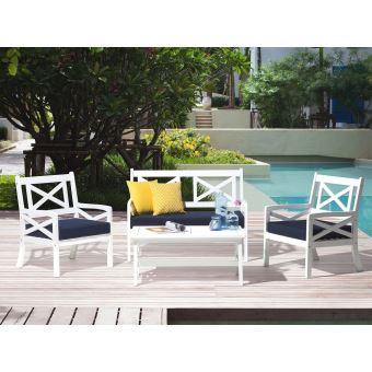 Beliani - Salon de jardin en bois blanc avec coussins bleu ...