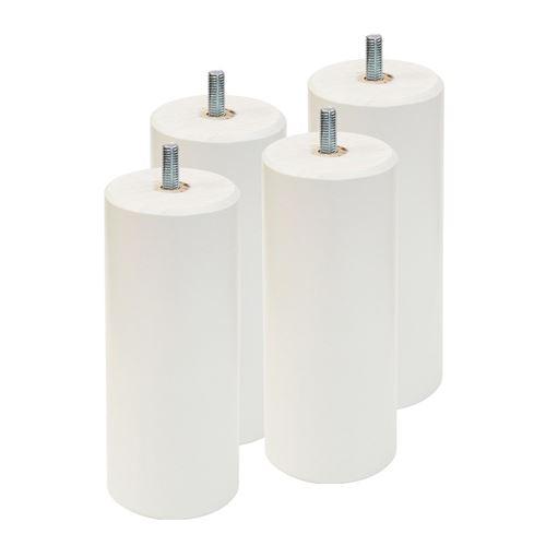 ELEA - Jeu de 4 pieds 15 cm blanc pour sommier tapissier