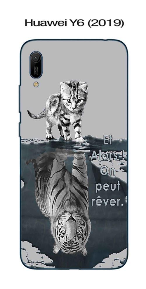 Coque Huawei Y6 (2019) design Chat Tigre Blanc fond gris Et Alors !