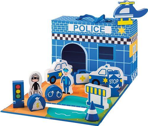 Jouéco Police playset bois 13 pièces bleu junior