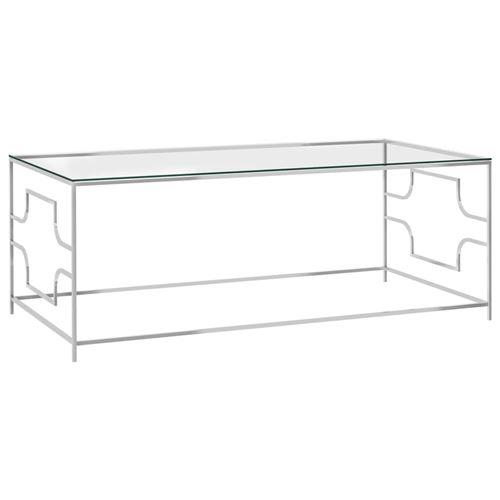 Table basse en acier inoxydable et verre 120x60x45cm Argent