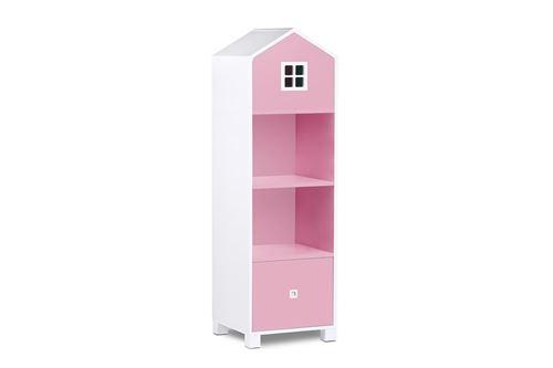 MIRUM - Bibliothèque chambre enfant - 3 niches + 1 tiroir - Blanc/Rose