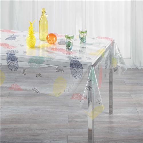 nappe cristal rectangle 140 x 240 cm pvc imprime 14/100e hello ananas
