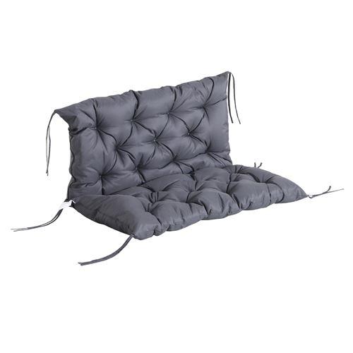Coussin matelas assise dossier pour banc de jardin balancelle canapé grand confort 100 x 98 x 8 cm gris