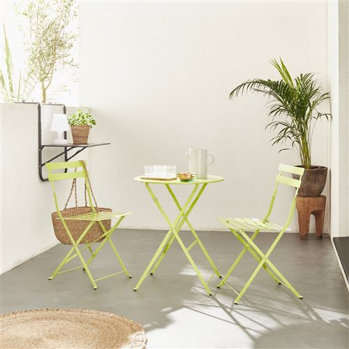 Table de jardin bistrot pliable - Emilia ronde verte ...