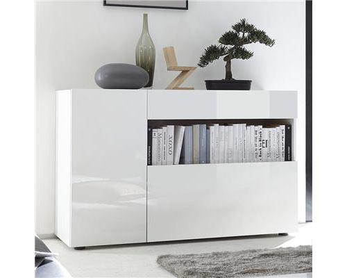Petit bahut design blanc laqué PICERNO - L 130 x P 41 x P 82 cm