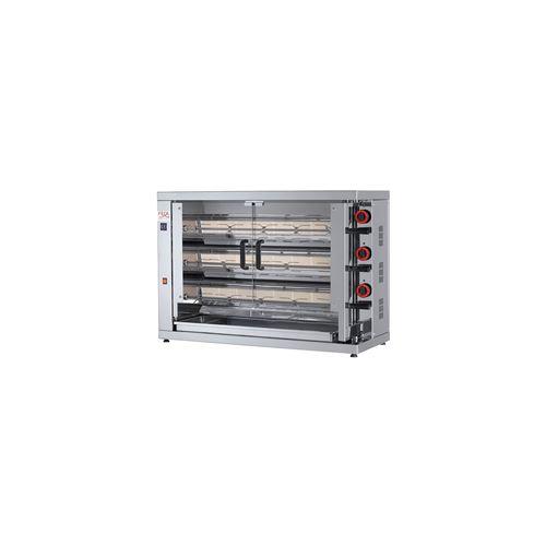 Rôtissoire électrique vitro-céramique, 3 broches, 15 à 18 poulets - EKO