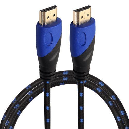 (#23) 1m HDMI 1.4 Version 1080P Nylon Woven Line Blue Black Head HDMI Male to HDMI Male Audio Video
