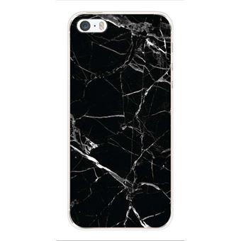 Coque silicone gel Apple iPhone SE motif Marbre Noir