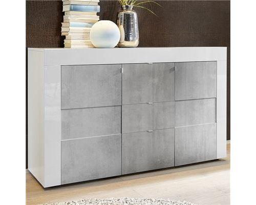 Buffet blanc et gris laqué 2 portes 3 tiroirs TUNIS 2 - L 138 x P 42 x H 84 cm