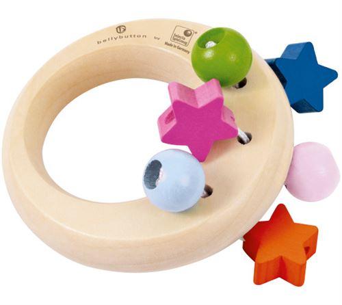 Selecta Spielzeug anneau de préhension et hochet junior 8 cm bois naturel