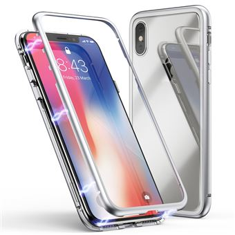 Coque pour Apple iPhone X Coque Magnetique Argent Verre Trempe Houe Etui 360 Integral Full Protection Metal Film Vitre Ecran Ultra Resistant Phonillico