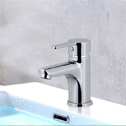 Robinet mitigeur de lavabo laiton chrome cartouche ceramique economie d'eau