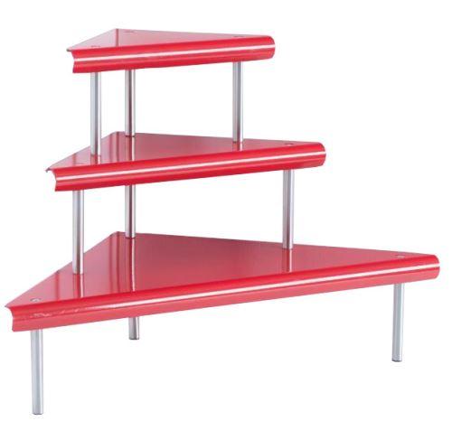 Etagère d'angle 3 niveaux - rouge