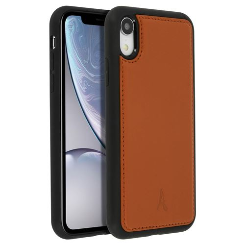 Coque iPhone XR Protection Rigide Cuir Veritable Akashi Camel
