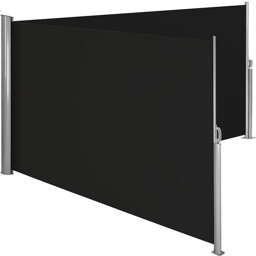 TecTake Paravent rétractable double - 200 x 600 cm - noir