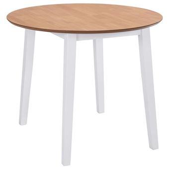 vidaXL Table de Salle à Manger Ronde abattant MDF Blanche - Achat ...