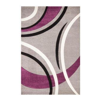HAVANNA Tapis de salon 160x230 cm Violet, gris et noir ...