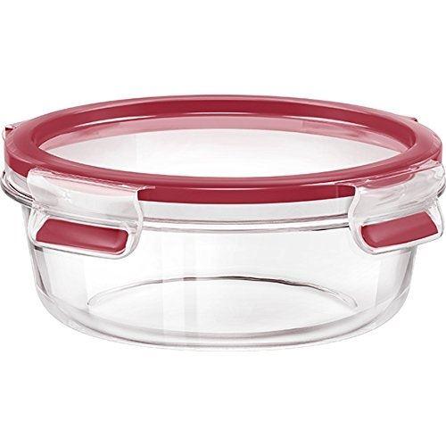 Emsa boîte fraîcheur, rond, couvercle, verre, 0,6 litre, transparent rouge, clip & close, 516242
