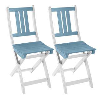 Lot de 2 chaises pliantes de jardin en bois FSC, peinture