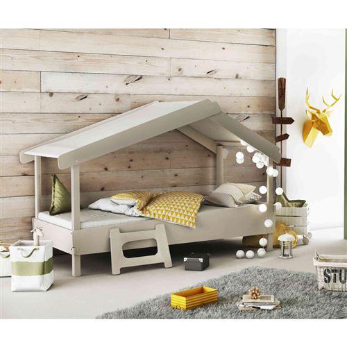 Lit enfant cabane en bois gris 90x200