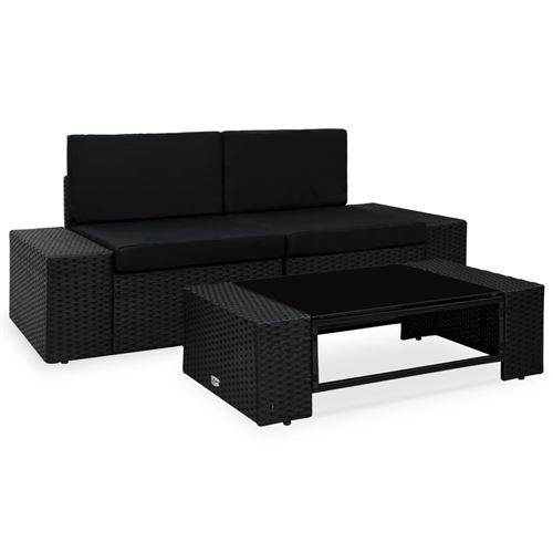 vidaXL Salon de jardin - 2 canapés d'angle + 1 table basse - Résine tressée - Noir