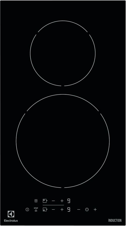 Electrolux EHH3320NVK - Table de cuisson à induction - 2 plaques de cuisson - Niche - largeur : 27 cm - profondeur : 49 cm - noir - noir
