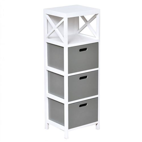 Meuble rectangulaire 3 tiroirs bois gris blanc