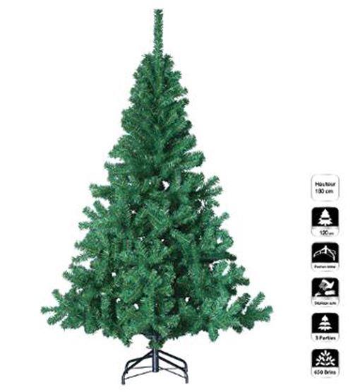 Sapin de noël artificiel coloris vert - Dim : D.109 x H.180 cm -PEGANE-